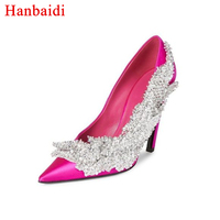 Hanbaidi Fashion Satin High Heels Shoes Woman Pointed Toe Rhinestone Flower Women Party Shoes Glittering Feminino Wedding Shoes