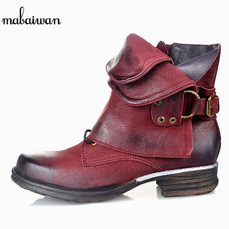 Mabaiwan Genuine Leather Women Ankle Boots Side Zipper Flat Shoes Woman Flat Booties Autumn Botas Militares Martin Botines Mujer front lace up casual ankle boots autumn vintage brown new booties flat genuine leather suede shoes round toe fall female fashion