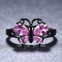 Bamos Cute Pink/Red/White/Black Stone Finger Ring Butterfly