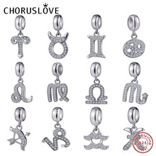 Choruslove Zodiac Sign Dangle Charm 925 Sterling Silver Constellation Pendant Bead fit Original Pandora Charms DIY Bracelet