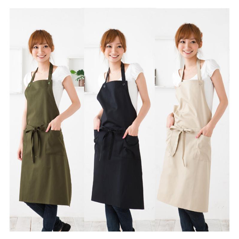 high-end korean fashion simple cotton aprons coffee shop beauty salon restaurant work cloth home kitchen apron