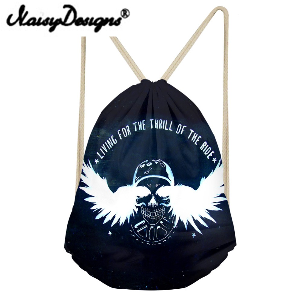 Noisydesigns Wings Series Cool Punk Skull Printing Men's Drawstring Backpack Tote String For Teenagers Harajuku Bags Mochila New