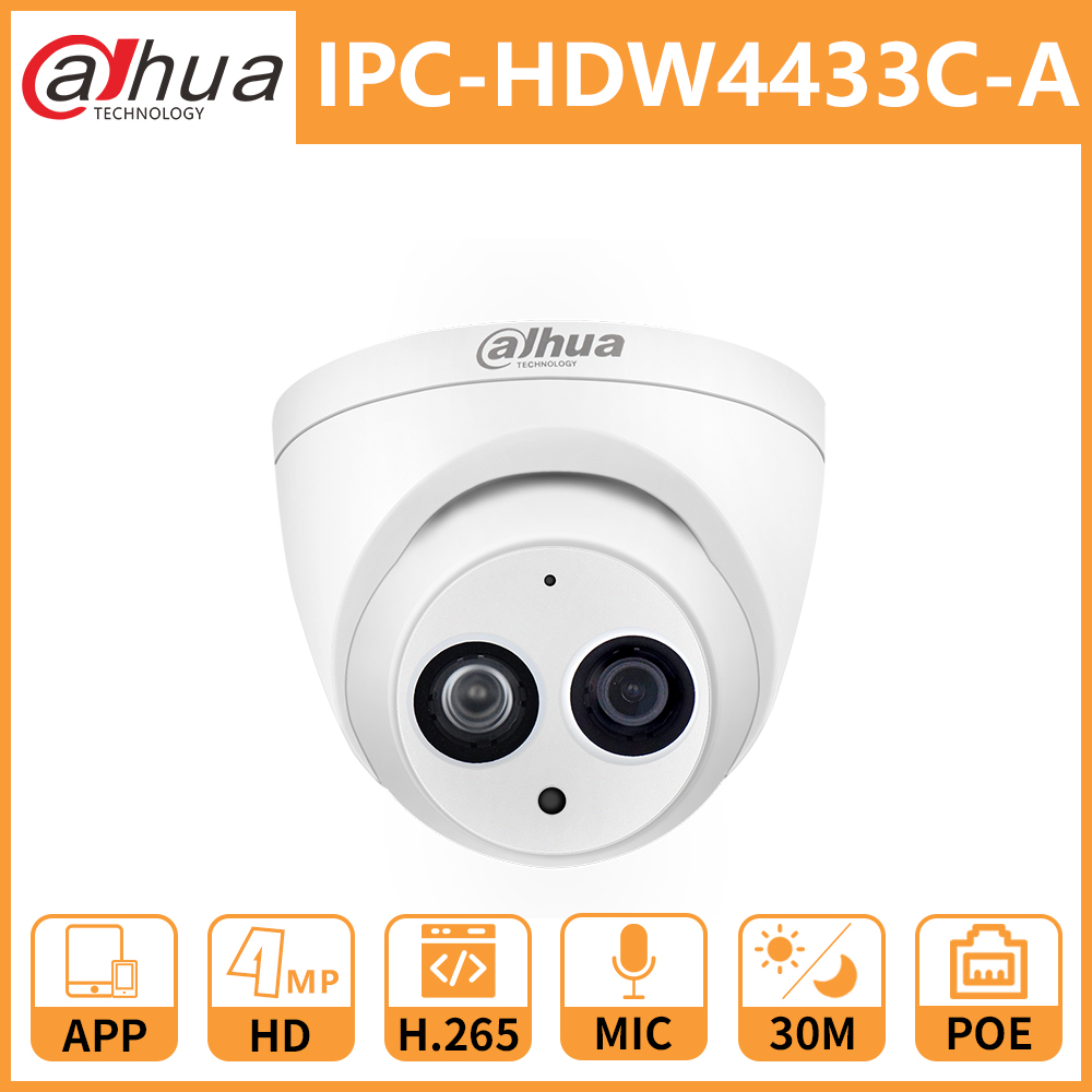 Dahua DH IPC-HDW4433C-A 4MP POE Network IP Camera HD Starlight Camera Mini Dome Security Built-in Mic Replace IPC-HDW4431C-A(China)