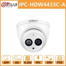 Dahua DH IPC-HDW4433C-A 4MP IR30 сетевая камера, PoE HD мини купол безопасности Встроенный микрофон камера с подсветкой заменить IPC-HDW4431C-A