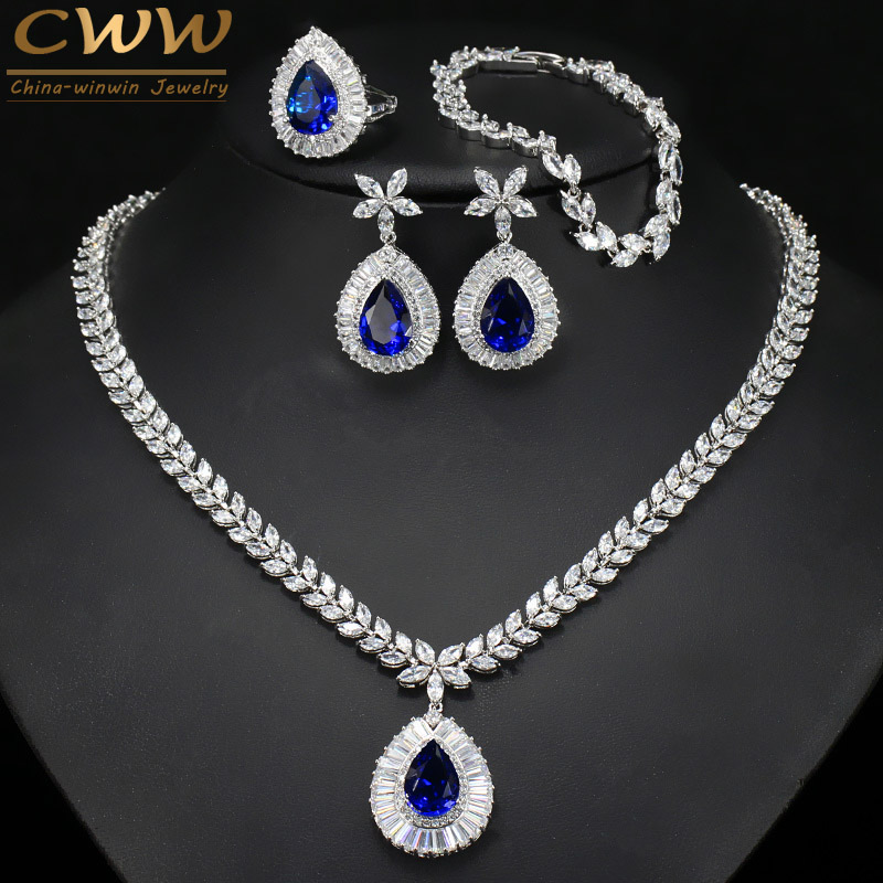 CWWZircons Water Drop Royal Blue CZ Necklace Earrings Ring And Bracelet 4 Piece Wedding Jewelry Set For Women Bridal Party T098 a suit of chic faux ruby water drop necklace ring bracelet and earrings for women