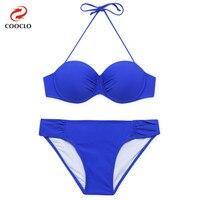 COOCLO 2018 Sexy Bikinis Set Women Swimwear Halter Push up Bandeau Top Beach Wear Solid Color Swimwear Biquinis Bathing Suits