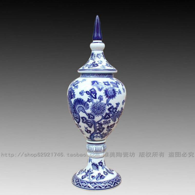 Jingdezhen ceramic blue and white porcelain vase new house decoration ceramic crafts decoration