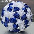 ПОП НОВЫЙ Королевский Синий Белый Цвет Жемчуг Бисера Люкс Свадебные Букеты Простой Прочный Половина Бал Лук Стежка с Цветами в Руках W322