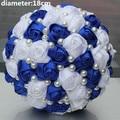 POP NUEVA Royal Azul Blanco Color de Perlas Con Cuentas de Novia Ramos de Novia Simple Durable Media Bola Arco De Punto Con Flores W322