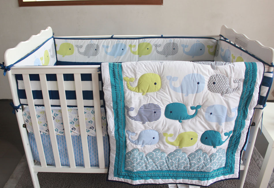 7PCS Embroidery Cotton Crib Bedding Baby Bed Linen Newborn Baby Bedding Set Cartoon (bumper+duvet+bed cover+bed skirt) promotion 7pcs embroidery newborn baby bedding set cartoon kids crib bed sheets 100