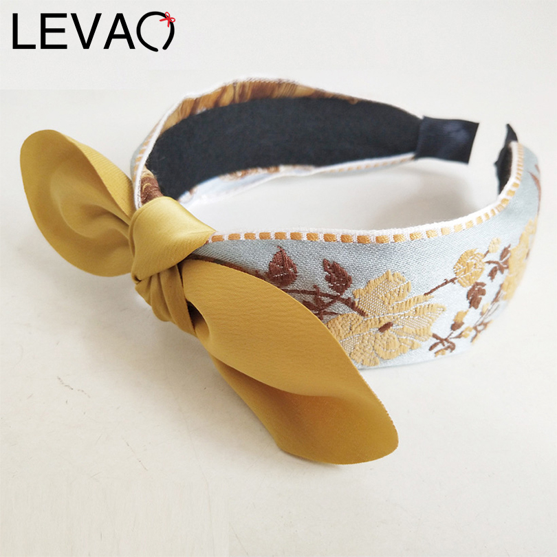 LEVAO Embroidered Print Knotted Wide Size Headband Hair Ornaments Bezel Turban Girls Headwear Women Hairband Hair Accessories