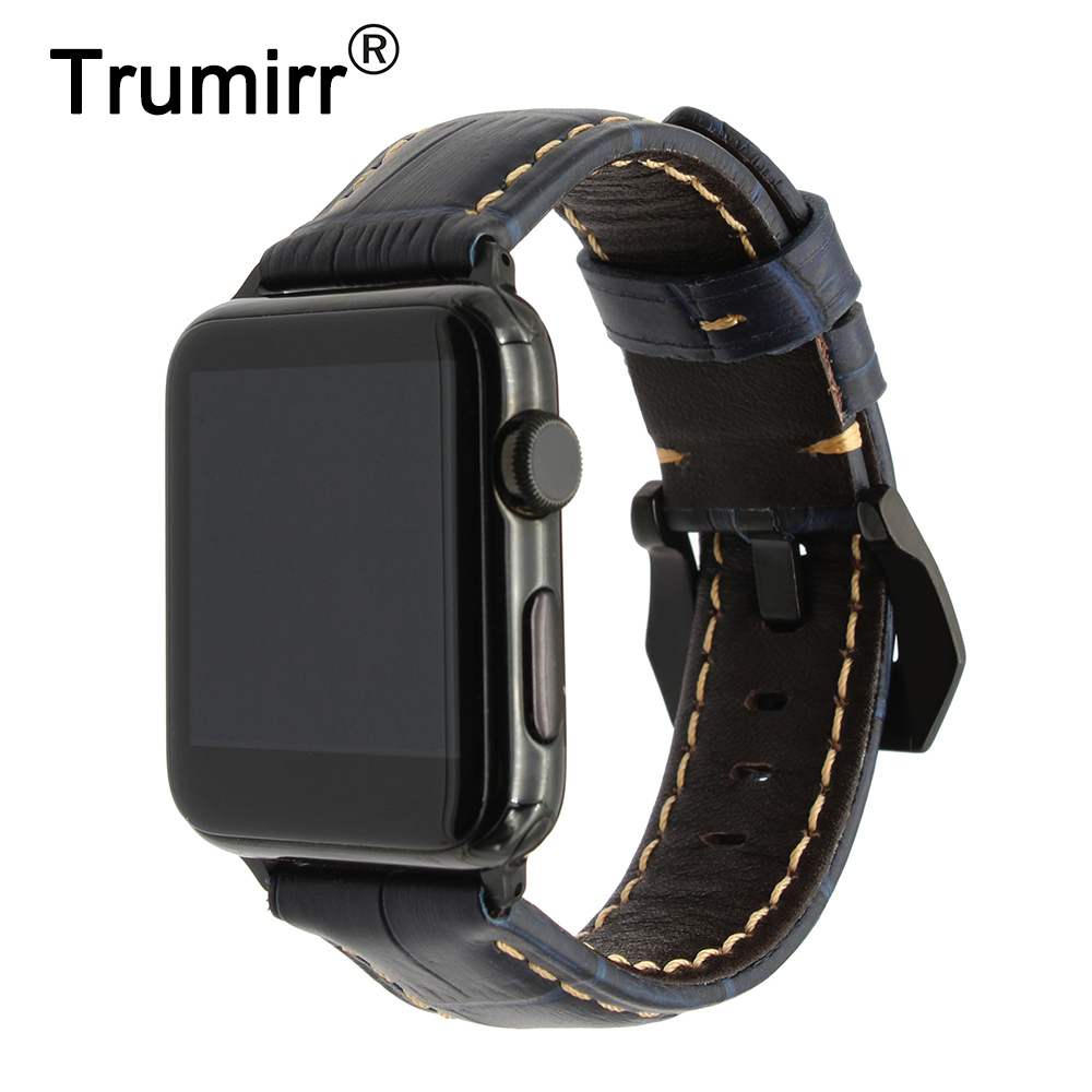Italian Genuine Leather Watchband + Adapter for iWatch Apple Watch 38mm 42mm Series 1 2 3 Vintage Band Steel Buckle Wrist Strap italian visual phrase book