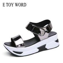 E TOY WORD platform sandals Summer Women shoes Wedge with Hook & Loop black silver sandals Roman Leisure high heel sandals