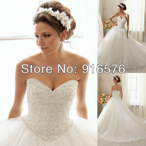 Sweetheart Puffy Skirt Sleeveless Lace Up Closure Crystal Pearl