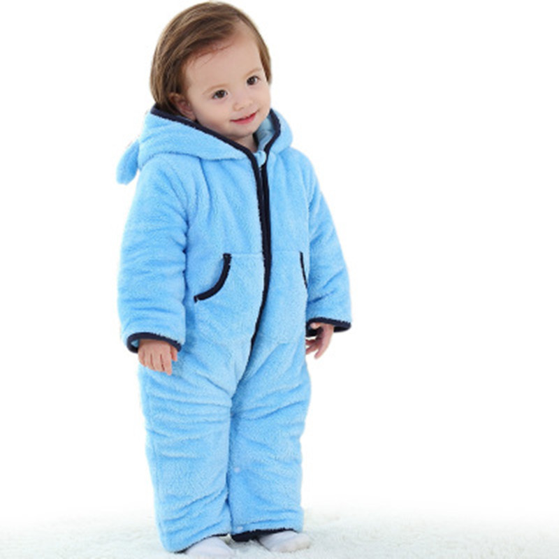 2017 Winter Baby Girls Thicker Footies with Hooded Newborn Coral Fleece White 0-1 Years Old Kids One-Pieces Baby Boys Girls Sale