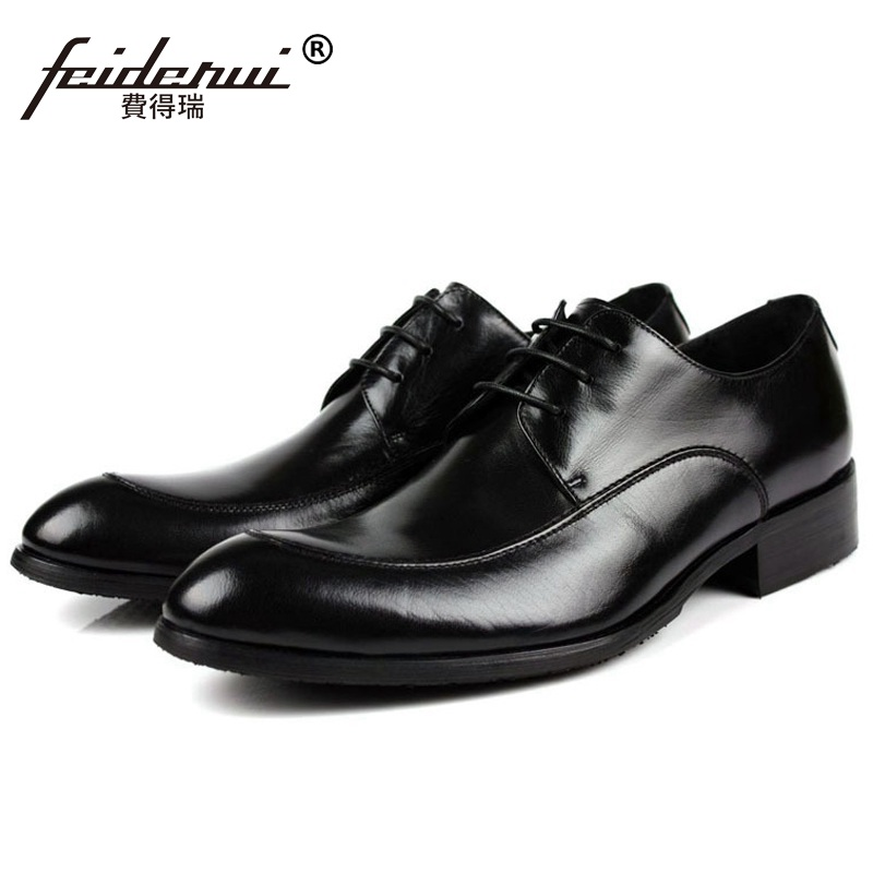 Elegant Formal Man Bridal Dress Office Shoes Genuine Leather Wedding Oxfords Luxury Brand Round Toe Derby Men's Footwear VK73 mycolen mens shoes round toe dress glossy wedding shoes patent leather luxury brand oxfords shoes black business footwear