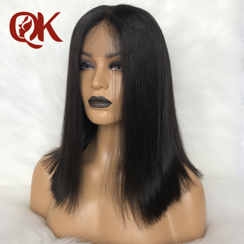 QueenKing hair Human hair Wig 180% Density Bob Wig Full Lace  Natural Brazilian Straight Preplucked Bleached Knots Middle Part
