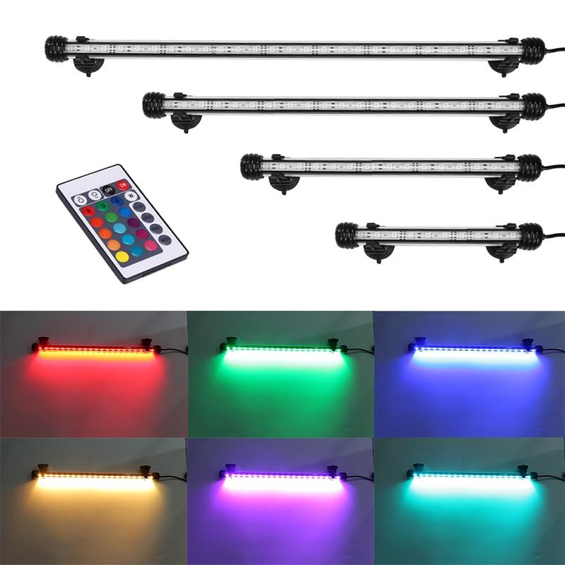 RGB Remote Aquarium Light Energy-saving Fish Tank Light Waterproof Aquatic Plant Light Aquarium Led Lighting 18-48CM EU US Plug