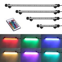 RGB Remoto Luz de Energia economia de Luz Do Tanque de Peixes Do Aquário Luz Do Aquário Conduziu a Iluminação À Prova D Água para Plantas Aquáticas 18 48 CM EUA Plug UEIluminações