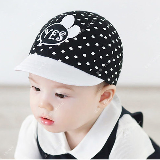 d9a53387336 Baby Summer Cap Yes Letters Print and Dot Baby Hat covering Black Ears  Cartoon Boy Sun Hats Snapback Caps Girls Visors