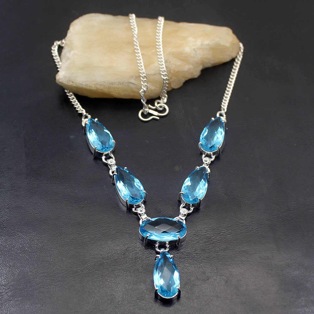 Collar con colgante de plata de ley Topaz925 azul de Londres de amatistt brillante y excepcional para mujer, joyería de 18 pulgadas