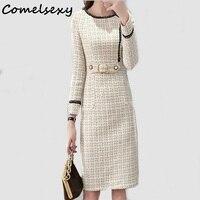 Comelsexy 2019 New Tweed Dress Women Spring Vintage Wool Plaid Dresses Female Elegant Woolen Dress Ladies Office