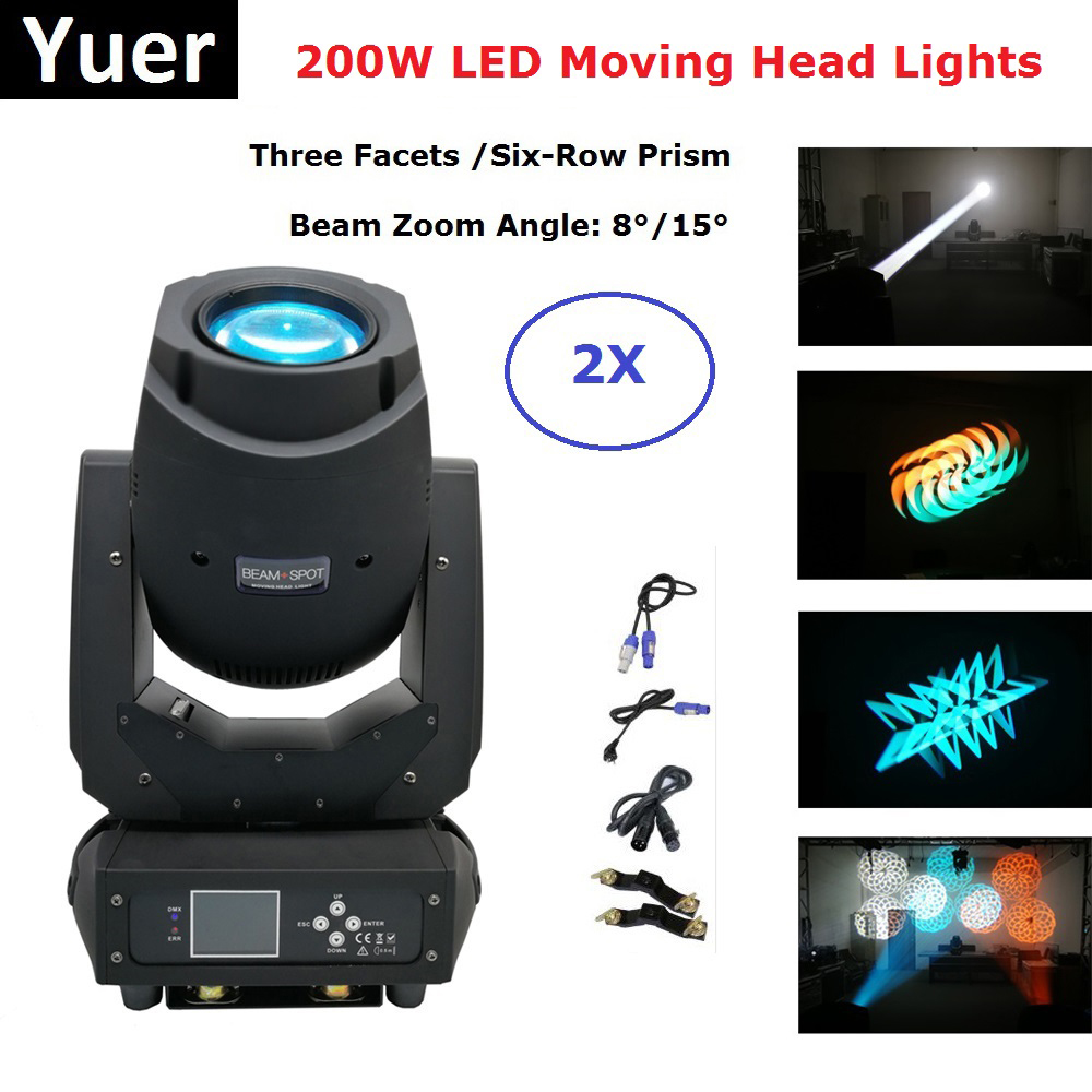 2XLot Newest 200W LED Moving Head Lights Beam Spot Wash 3IN1 LED Stage Lights Perfect For Dj Disco Lights Club Party Show luces