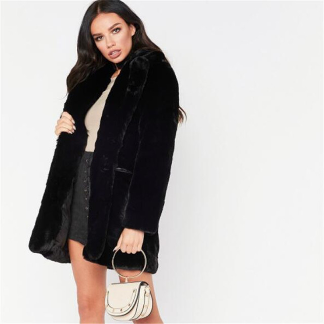 Faux Fur Coat Women Long Sleeve Warm Medium length Solid color Jacket Plus Size Winter Fur Coat Cardigan Rabbit Fur OutwearAS911