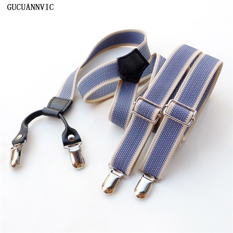 Nova GUCUANNVIC Moda céu azul homens suspensórios mulheres suspensórios 2.5 CM largura 4 clipe ou 6 botões decorativos arnês unisex