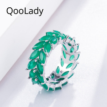 QooLady Brilliant Marquise Cut Green 2 Rows Cubic Zirconia Leaf Larger Round Finger Rings for Women Wedding Brand Jewelry F007