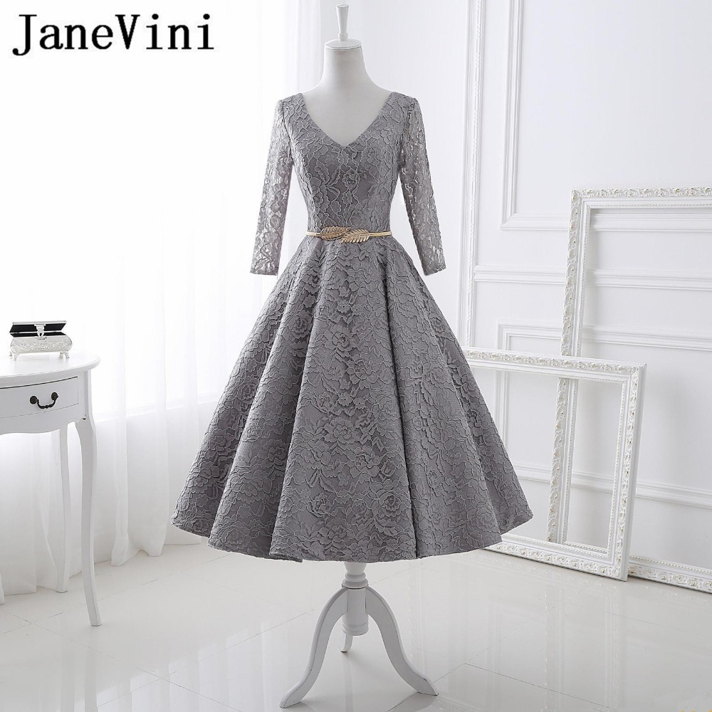 JaneVini Vestidos Vintage Evening Dresses With Sashes V Neck Long Sleeves Tea Length Lace Mother of the Bride Dresses Plus Size