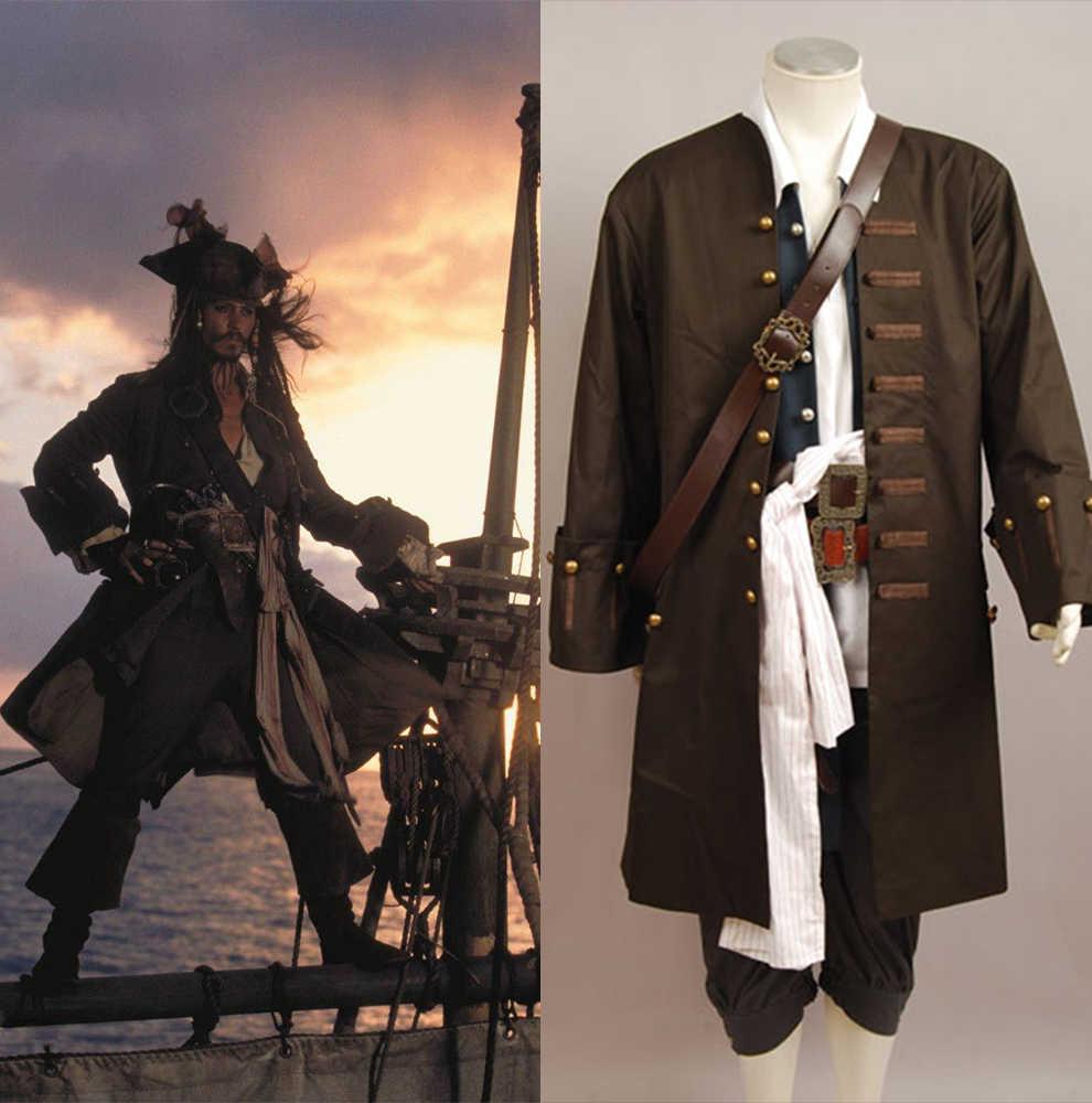 Piratas cosplay traje capitão jack cosplay sparrow jaqueta colete cinto camisa calças traje conjuntos completos adultos