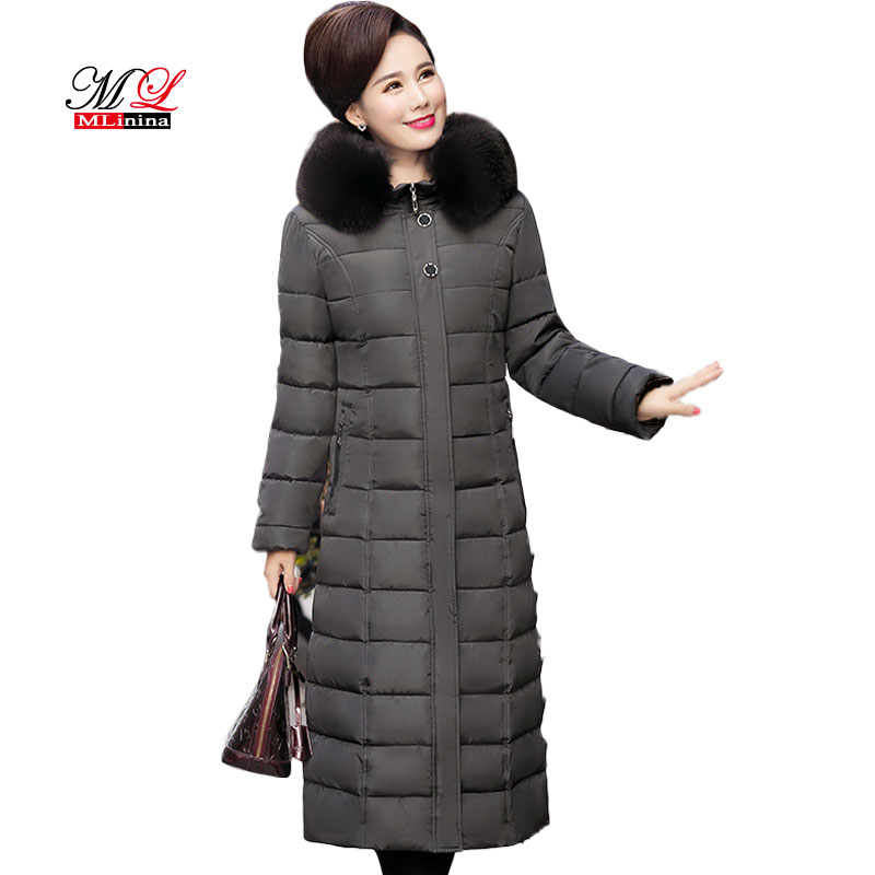 MLinina Big Fur Collar Winter Coat Women Winter Long Thick   Parka   Plus Size 5XL Cotton Down Jacket Female Ladies Outwear For Mom