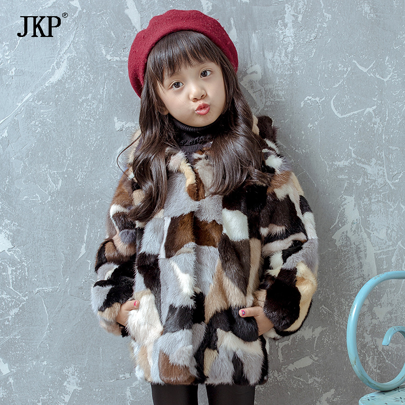 JKP2018 children's clothing girl winter jacket children's Mink fur Coats autumn and winter baby thick warm plush Outerwear CT-13