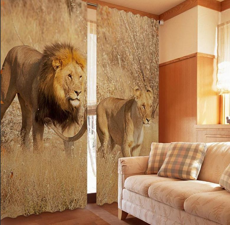 Prairie Lions 3D black silk 100% blackout curtainsPrairie Lions 3D black silk 100% blackout curtains