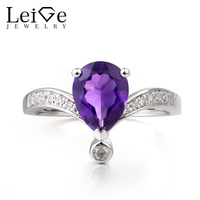 Leige Jewelry Natural Purple Amethyst Ring Wedding Ring Pear Cut Gemstone February Birthstone Gems 925 Sterling