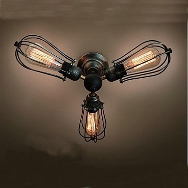 American Retro Vintage Edison Loft Style Industrial Ceiling Lamp With 3 Lights For Living Room Bedroom Home Lighting loft retro style edison bulb vintage industrial ceiling light for living room plafond lamp home lighting fixture