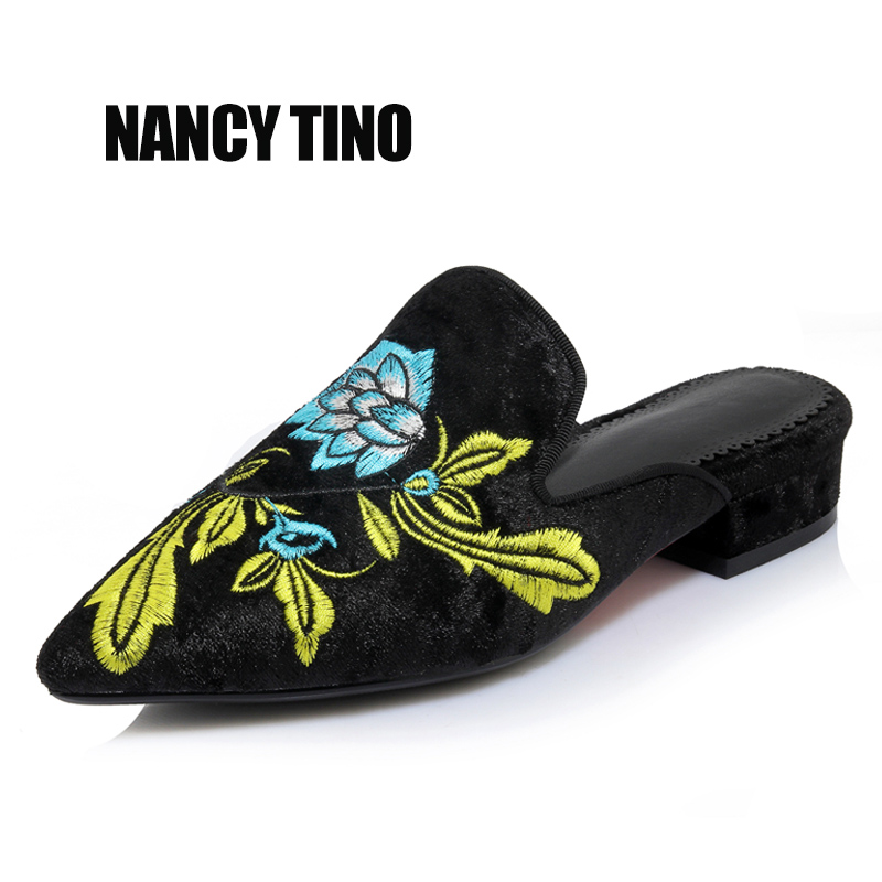NANCY TINO 2017 New Summer  Women Pumps Low With Mules Shoes Embroider Casual Low-heel Shoes Handmade Fashion Women's Sandals tino 2014