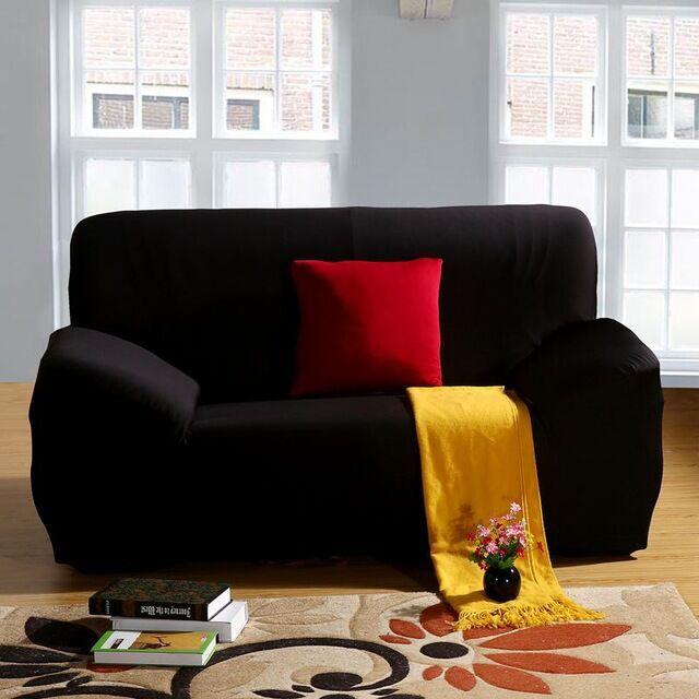 Black Sofa Cover Tight All Inclusive Sofa Towel Slipcovers Stretch Fabric  Single/Two/