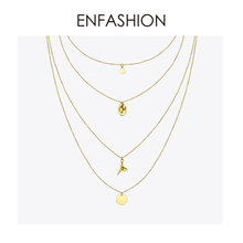 Enfashion Multi Layer Sequins Choker Necklace For Women Holiday Statement Long Tassel Pendants Chain Necklaces Jewelry PM193007(China)