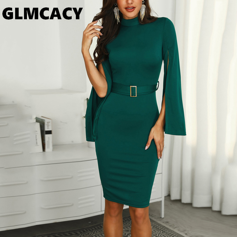 Fashion Style Women Billowing Split Sleeve Belted Bodycon Dress Office Lady Elegant Solid Knee-length O-neck Autumn Spring Party Dress Hot Sale 50-70% OFF Dresses