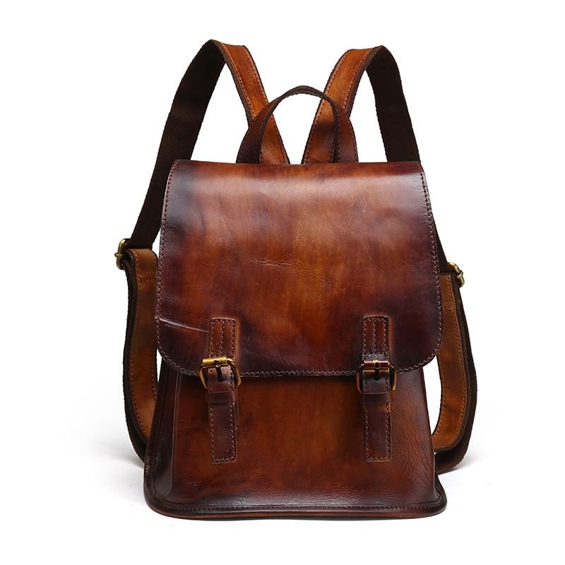Women Real Cowhide Rucksack Retro Casual Daypack Famous Designer Genuine Leather Girls Bag Female Travel Natural Skin Backpack