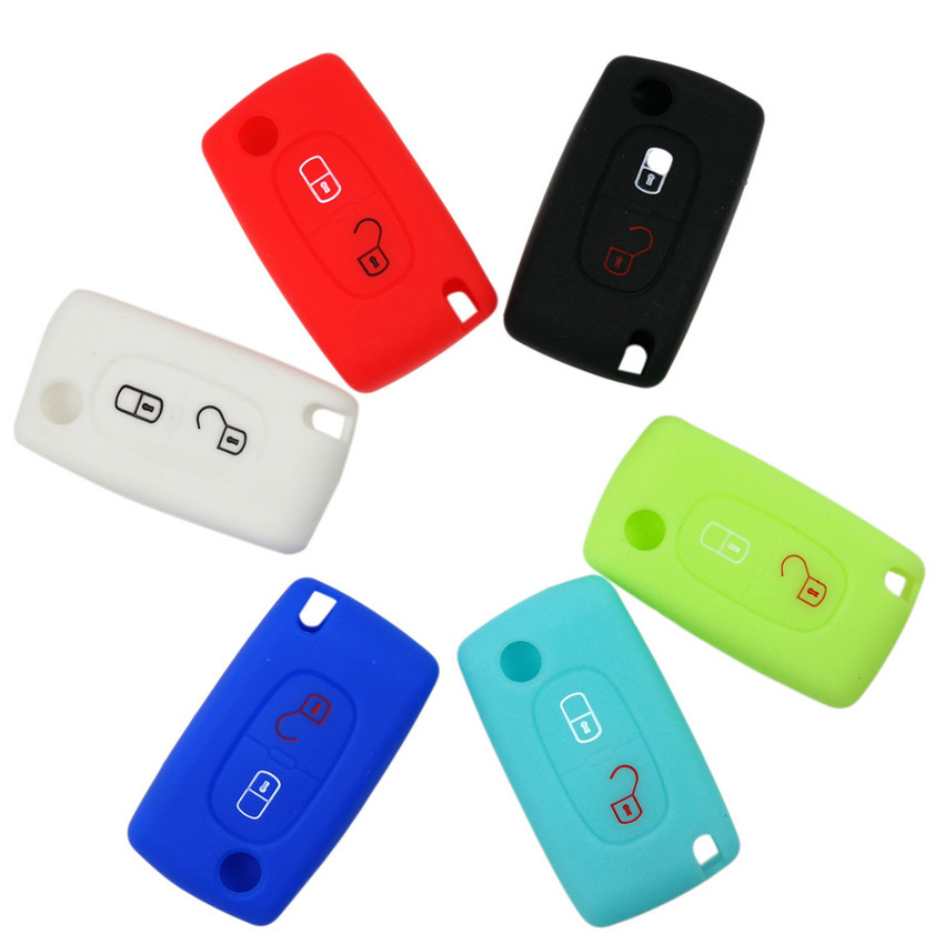 1pcs 2 button Silicone Car Key Case For PEUGEOT 206 207 307 308 407 408 Citroen C2 C3 C4 C4L C5 C6 Quatre Protector Cover atreus 1pcs car auto trailer ring hook vehicle towing hanger for nissan qashqai citroen c4 c5 c3 chevrolet cruze aveo peugeot