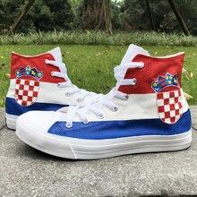 Вэнь дизайн флаг Италии ручная роспись обувь на заказ высокие женские холщовые Портативные обувь мужские скейтборд кроссовки
