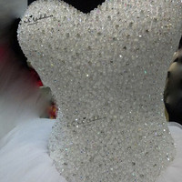 Beaded Luxury Wedding Dresses Robe de Mariee 2018 Bride Dress Floor Length Tulle Corset Back Ball Gown Gothic Wedding Gowns Boda