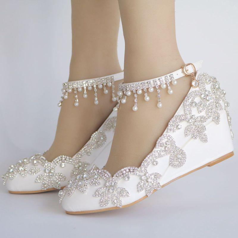 sapatos de casamento noiva nq168 tornozelo cintas