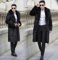 Осень из искусственного лисьего кожаная куртка мужская зима Сгущает Теплый меховой кожаная куртка Мужская Тонкий Куртки jaqueta de couro модные ч