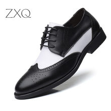 2019 British Style Mens Trend Pointed Toe Brogues Shoes Men Wedding Leather Dress Black With White Formal