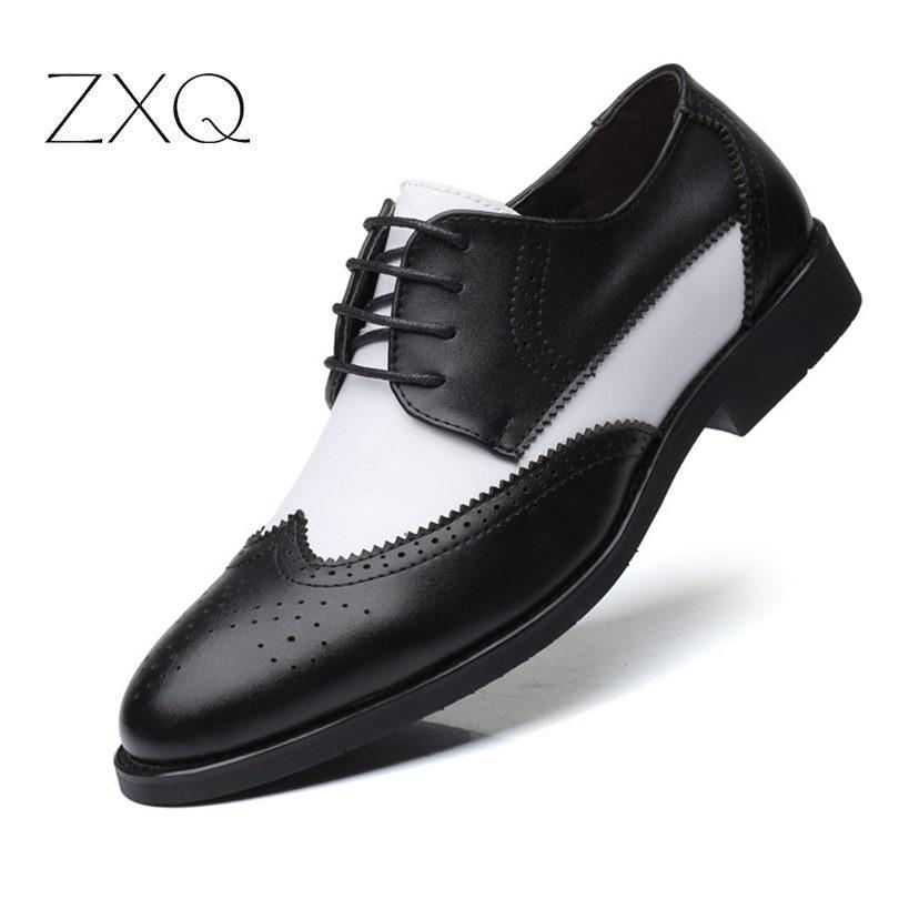 2019 Britischen Stil Männer Der Trend Spitz Brogues Schuhe Männer Hochzeit Leder Kleid Schuhe Schwarz Mit Weiß Formale Schuhe Männer
