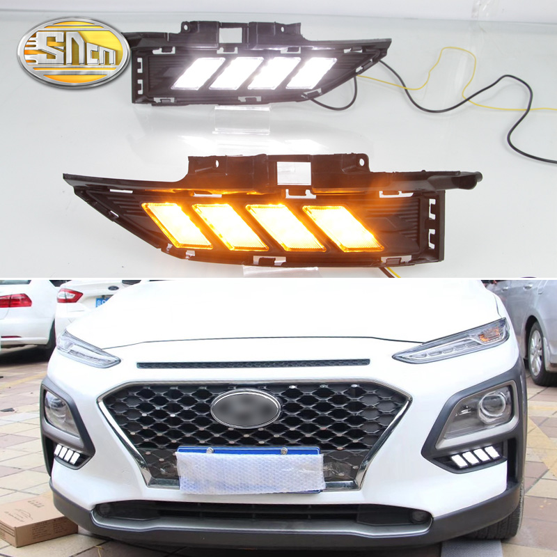 For Hyundai Kona 2018 2019 Dynamic Yellow Turn Signal Function Car DRL Lamp 12V LED Daytime